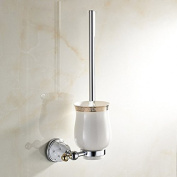 AUSWIND Modern Polished Star Diamond Solid Brass Silver Polished Wall Mounted Bathroom Accessories Toilet Brush Holder