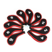 10pcs Red Golf Club Headcovers Long Sleeve Zipper Protect Iron Putter Head Cover