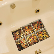 LEERYA New PAG 6pcs 13x13cm Coin Pattern 3D Anti Slip Waterproof Bathtub Sticker