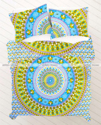 Green Sky Blue Yellow Floral Mandala Duvet Doona Cover Hippie Bohemian Bedding Quilt Blanket Cover With Pillowcovers