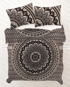 Queen Size Black Gold Mandala Duvet Doona Cover Bohemian Bedding Quilt Blanket Cover With Pillowcovers