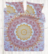 Queen Size Red Orange Floral Mandala Duvet Doona Cover Bohemian Bedding Quilt Blanket Cover With Pillowcovers