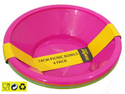 4 x Picnic Bowls Bright Colour Camping Kids Party Supplies NEW