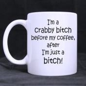 330mls Crabby Bitch - I'm a Bitch Before My Coffee, After I'm Just A Bitch Coffee Tea White Mugs Cup