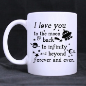 Romantic Valentine's Day Gift - I Love You To the Moon And Back Theme Coffee Tea White Mugs Cup, Pefect Gift for Lovers / Couples / Wife / Husband / Girlfriend / Boyfriend