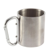 Stainless Steel Mug OUTAD Outdoor Camp Camping Cup Carabiner Hook Double Wall