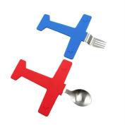 EQLEF® Creative Stainless Steel Aeroplane Fork Spoon Set Kids Tableware Sets