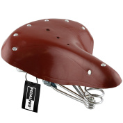 PedalPro Classic Brown Genuine Leather Sprung Bicycle Saddle