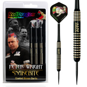 Red Dragon Peter Wright Snakebite 22g - Brass Darts with Flights, Shafts, Case & Red Dragon Checkout Card