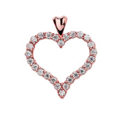 1.5 Carat Cubic Zirconia Heart Pendant in 14k Rose Gold