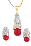 Dilan Jewels HAPPINESS Collection Red Colour Drop Two Tone Rhodium Plated Set For Women