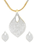 Dilan Jewels PEACE Collection Silver Studded Locket Set For Women