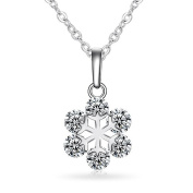 Katie's Style Cubic Zirconia Snowflake Winter Fashion Pendant Necklace