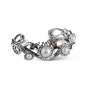 Carolyn Pollack Sterling Silver Freshwater Cultured Pearl Citrine Cuff Bracelet, Small