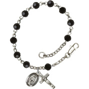 Sterling Silver Rosary Bracelet 5mm Black beads Crucifix sz 5/8 x 1/4.