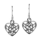 Romatic Celtic Heart Knot .925 Sterling Silver Dangle Earrings