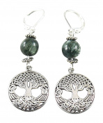Celtic Tree of Life Earrings with Seraphinite, 5.1cm , Lever Back Wires, Sterling Silver