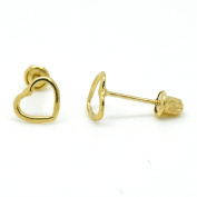 14k Yellow Gold Screw Back Studs Earrings Women Kids Girls Open Heart Shape Cute Dainty Pair