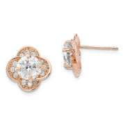 10K Pink Rose Gold Tiara Collection Polished Round CZ Flower Post Earrings