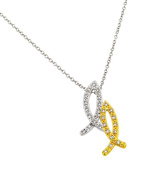 Sterling Silver Necklace w/ CZ Stones Rhodium & Gold Plated Christian Fish Pendant