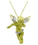 Diamond Angel Pendant Necklace 14K Yellow Gold