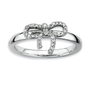 Sterling Silver Stackable Expressions Bow Diamond Ring