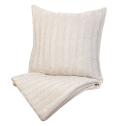 Indecor Home TD21-6054-IV Cable Knit Throw and Decorative Pillow, Ivory