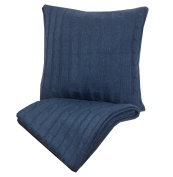 Indecor Home TD21-6054-NA Cable Knit Throw & Decorative Pillow, Navy