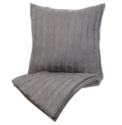 Indecor Home TD21-6054-GR Cable Knit Throw & Decorative Pillow, Grey