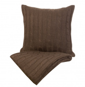 Indecor Home TD21-6054-CH Cable Knit Throw and Decorative Pillow, Chocolate