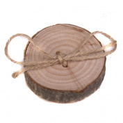 Wedding Wooden Ring Pillow Bearer Jute Rope Round