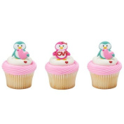 Valentine's Day Penguin Cupcake Rings - 24 pc