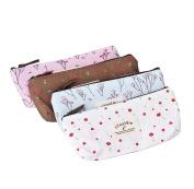 XUANOU 4PC Different Colours Pastorable Canvas Pen Bag Pencil Case Cosmetic bag