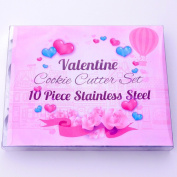 Valentine Cookie Cutter Set - 10 Piece Stainless Steel