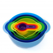 HULLR 8-Piece Measuring Mixing Bowl Set, Colourful Stackable Bowls For Baking Cooking & More