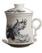 Emoyi Chinese Teaware White Porcelain Bone Tea Cups Tea Mug (With Lid) Eagle