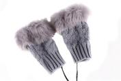 1 Pair(2PCS) Winter Thicken Fingerless Gloves USB Heated Plush Warm Cold-Proof Knit Gloves Mittens for Women Teen Girls