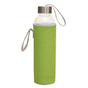 TOOGOO(R)Glass Sport Water Bottle with Tea Filter Infuser Protective Bag 550ml Green