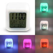 Multi-function LED 7 Colour Glowing Change Digital Alarm Clock LED Watch Glowing Alarm Thermometer Clock Cube