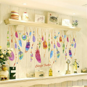 HN Feather Wall Sticker Classic Dream Catcher Sofa Art Decal Mural Lucky Room Decor