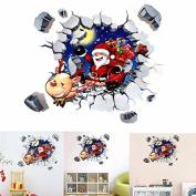 dipshop 45x60CM 3D Wall Sticker Christmas Santa Claus Adhesive Sticker Bedroom Home Deco
