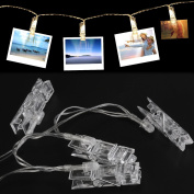 MENZO LED String Lights - 3M 20 LEDs Photo Clip String Lights, Christmas String Lights, for Hanging Pictures Photos Cards and Battery Powered, Photo Banner, Wall Decor Essential, Warm White