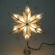 Capiz Star Gold Scroll Metal Christmas Tree Topper, Silver, 23cm