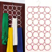 28 Ring Scarf Holder Tie Hanger Belt Closet Clothes Organiser Hook Storage