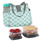 Fit & Fresh 989FF721 Westport Insulated Lunch Bag with Reusable Container Set and 590ml Tritan Water Bottle (Aqua Dogwood), Aqua