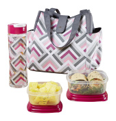 Fit & Fresh 989FF1125 Westport Insulated Lunch Bag with Reusable Container Set and 590ml Tritan Water Bottle, Magenta