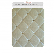 Large Size Ivory Linen Memo Board with Chrome Studwork