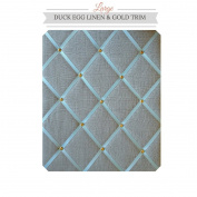 Large Size Duck Egg Blue Linen Memo Board with Chrome Studwork