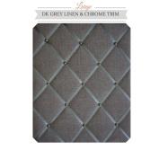 Large Size Dark Grey Linen Memo Board with Chrome Studwork
