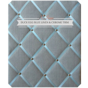 X Large Size Duck Egg Blue Linen Memo Board with Chrome Studwork